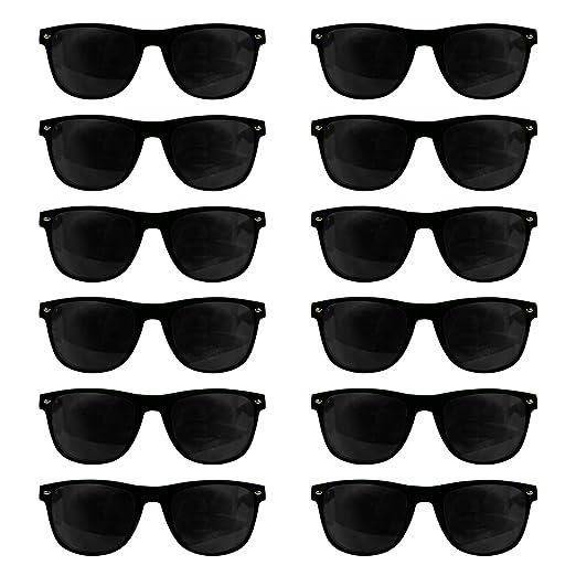 8d0d2b0e42e Amazon.com  12 Pack Black Retro Sunglasses Bulk for Kids Adults ...