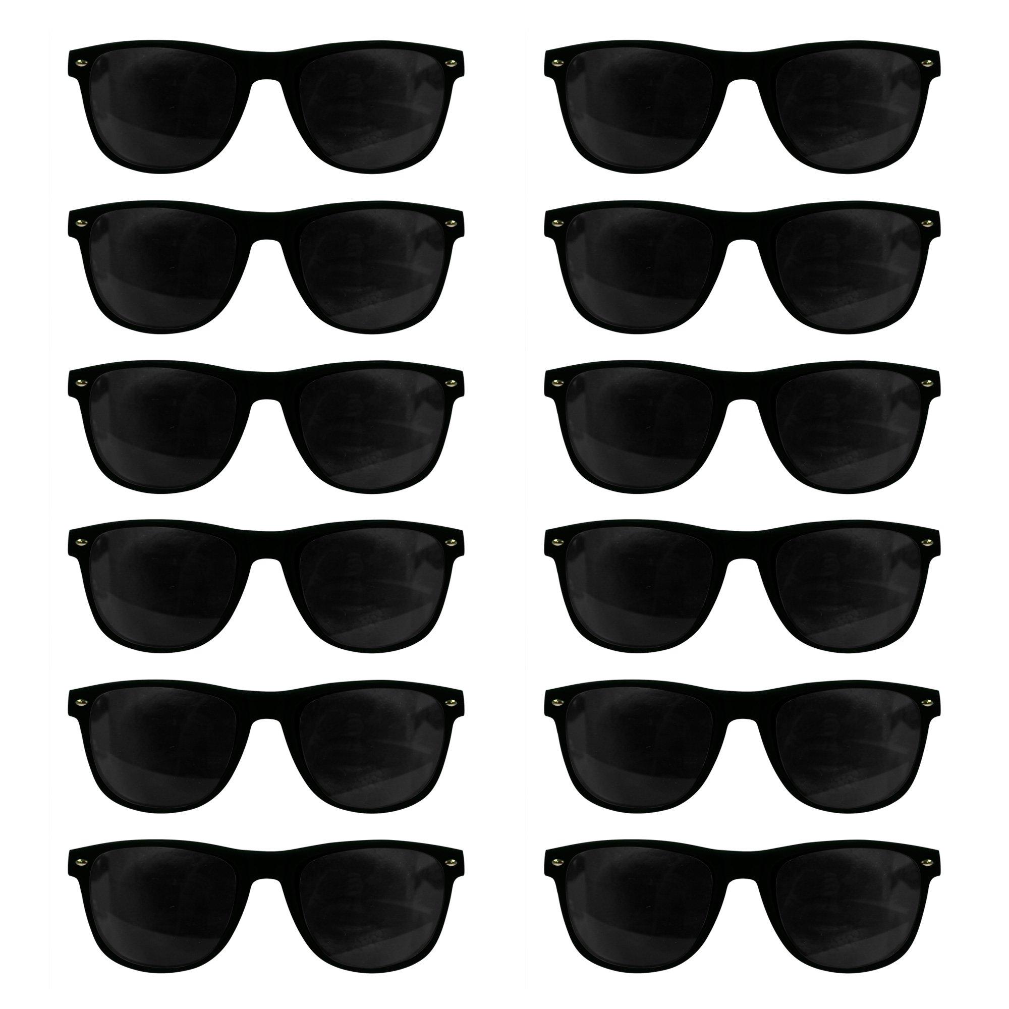 12 Pack Black Retro Sunglasses Bulk for Kids Adults Party Favors