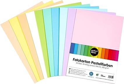 perfect ideaz cartulina cuché A4 de pastel, 50 hojas, cartulina de color, en 10 colores diferentes, grosor de 300g/m², hojas de la máxima calidad: Amazon.es: Oficina y papelería