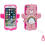 Artbling Case for iPhone 7 Plus 8+,Silicone 3D Cartoon Animal Cover,Kids Girls Cool Lovely Cute Cases,Kawaii Soft Gel Rubber Unique Character Protector+Finger Ring for iPhone7 8Plus (Rainbow Bear)