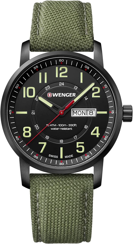 Wenger Hombre Attitude - Reloj Suizo de Cuarzo analógico de Acero Inoxidable/Nylon 01.1541.104