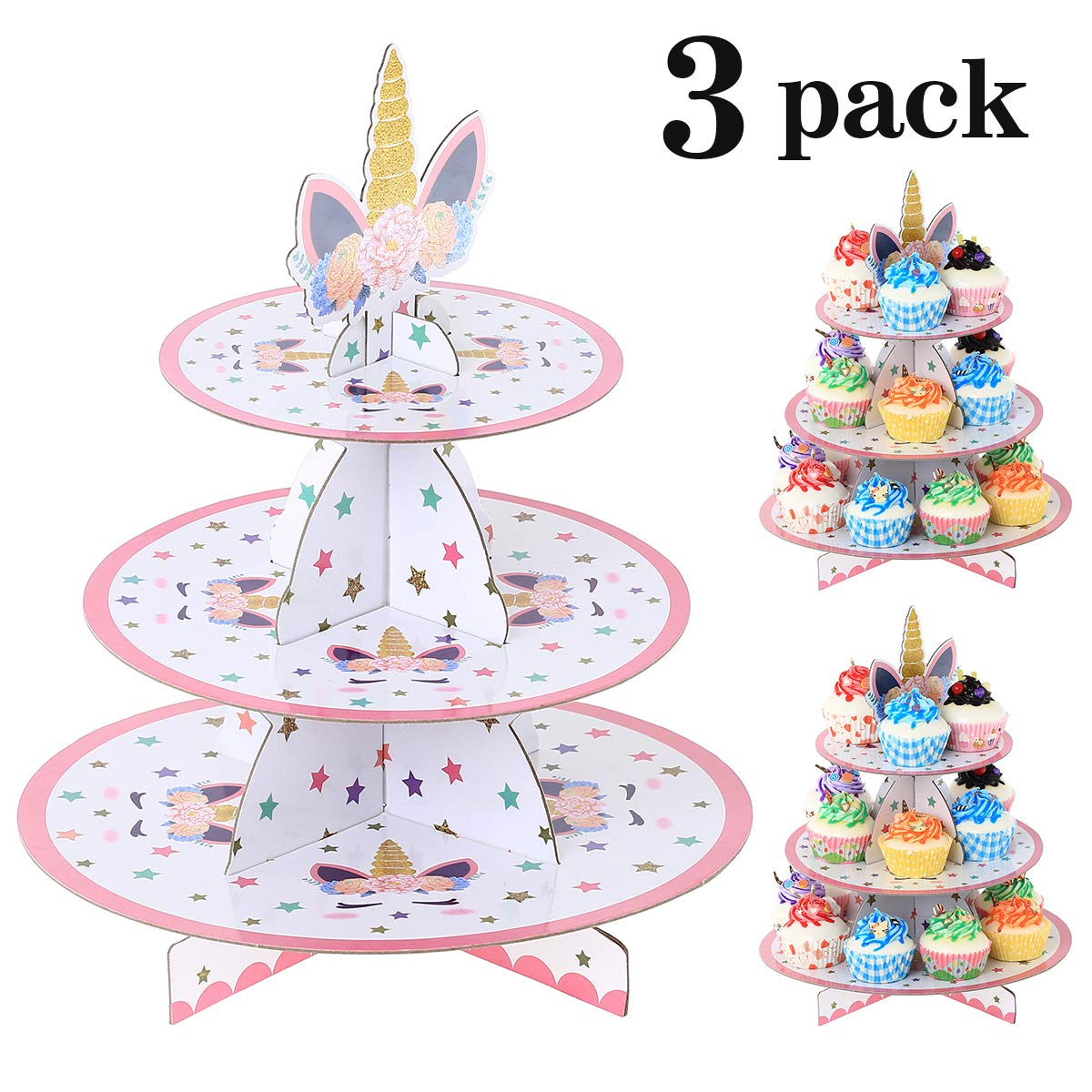 UltraOutlet Set of Three Unicorn 3-Tier Cardboard Cupcake Stands, Paper Cupcake Holders for Weddings, Birthday Parties, Baby Showers, and Graduations by UltraOutlet