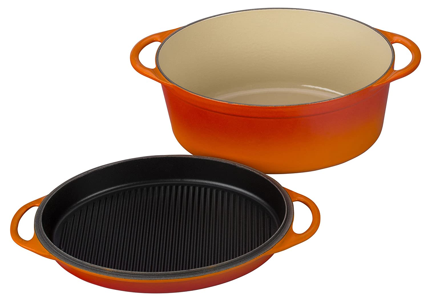 Le Creuset of America Cast Iron Cookware Oval Dutch Oven, 7.75Qt, Flame