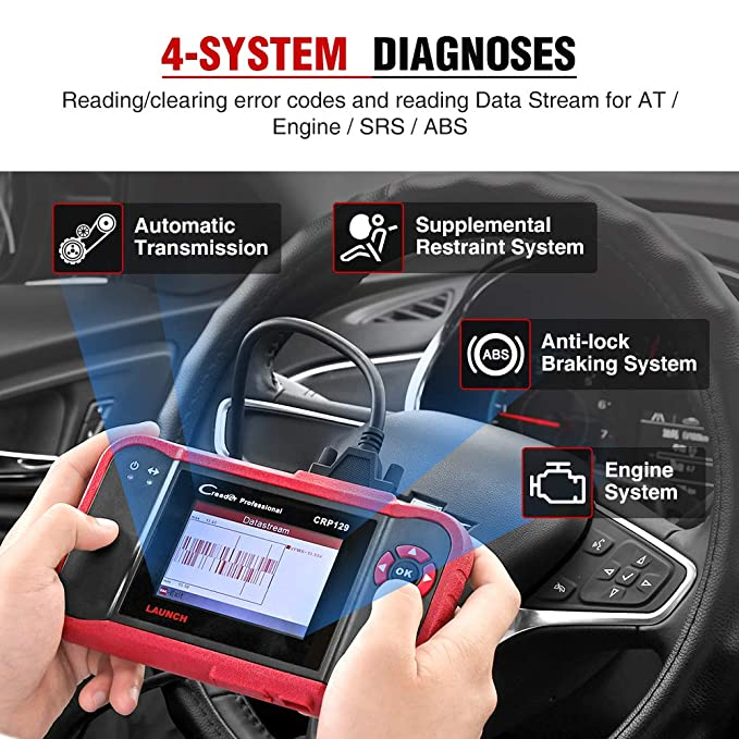 ABS y SRS 1GB SD Card en ESPA/ÑOL LAUNCH X431 CRP129 Esc/áner de Diagn/óstico OBD2 para Transmisi/ón con Reset de Aceite y Servicios EPB // SAS Motor Airbag