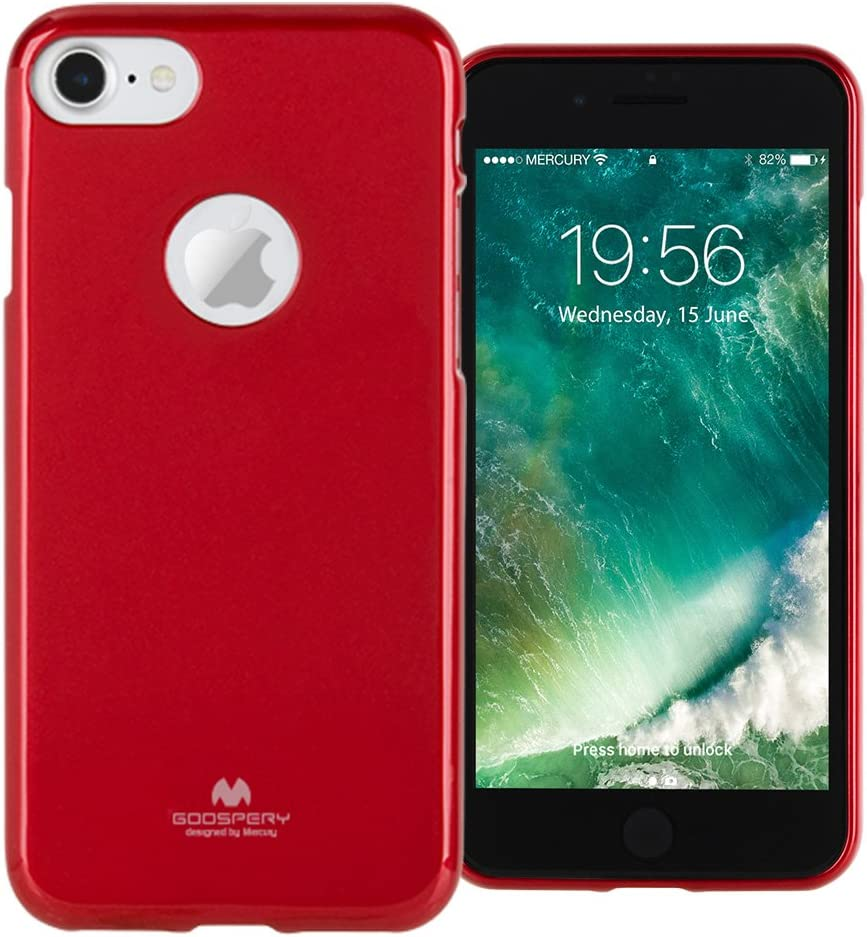 Goospery Pearl Jelly for Apple iPhone 7 Case (2016) with Screen Protector Slim Thin Rubber Case (Red) IP7-JEL/SP-RED