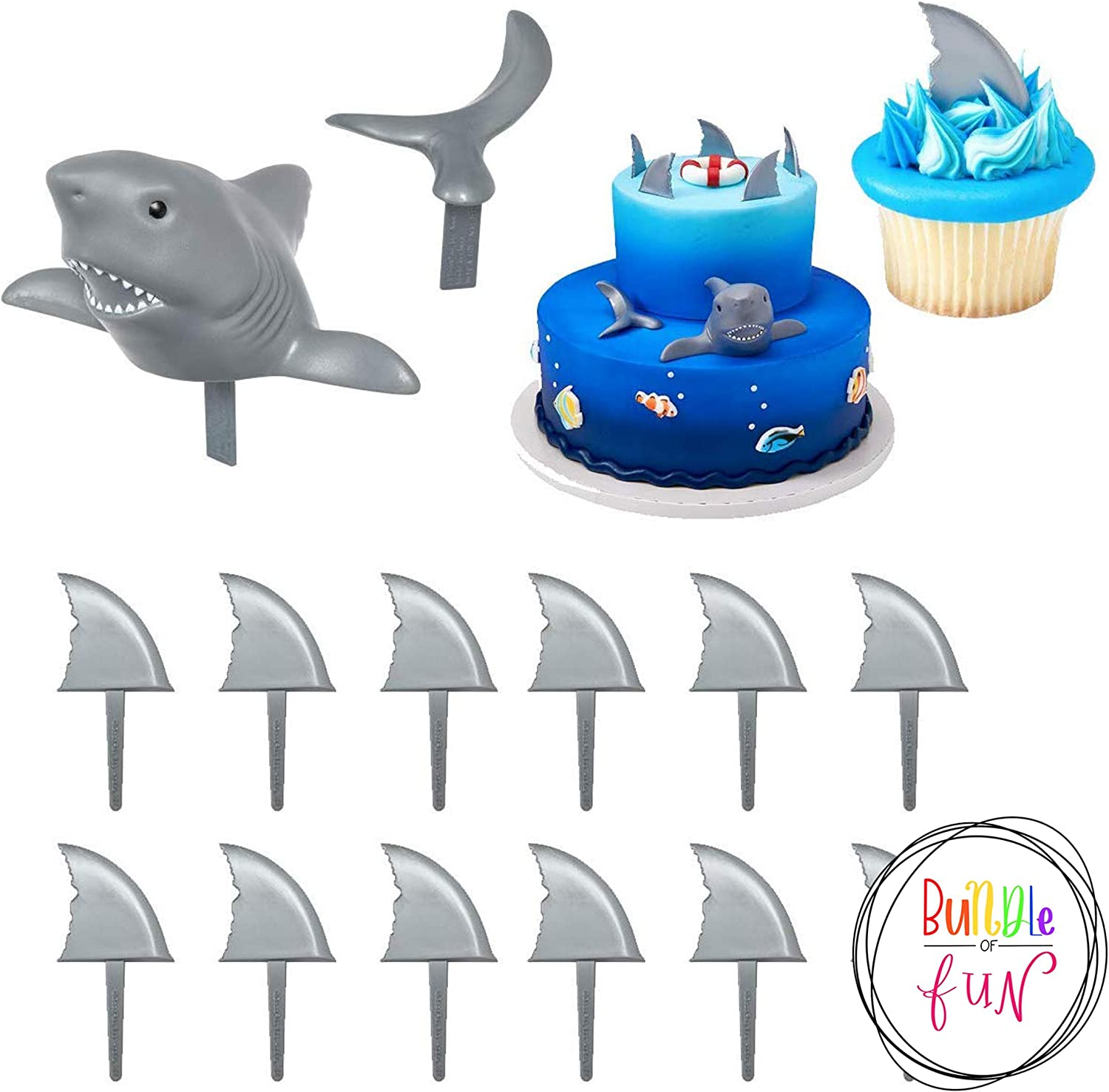 Shark Creations Cake Decorating Set Cake Topper and 24 Shark Fin Cupcake Topper Picks plus Bundle of Fun Sticker