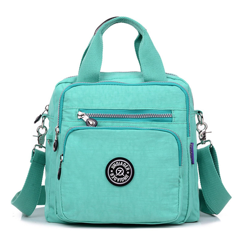 TianHengYi Girls Multifunction Water Resistant Nylon Top Handle Handbag Crossbody Satchel Purse Backpack Green