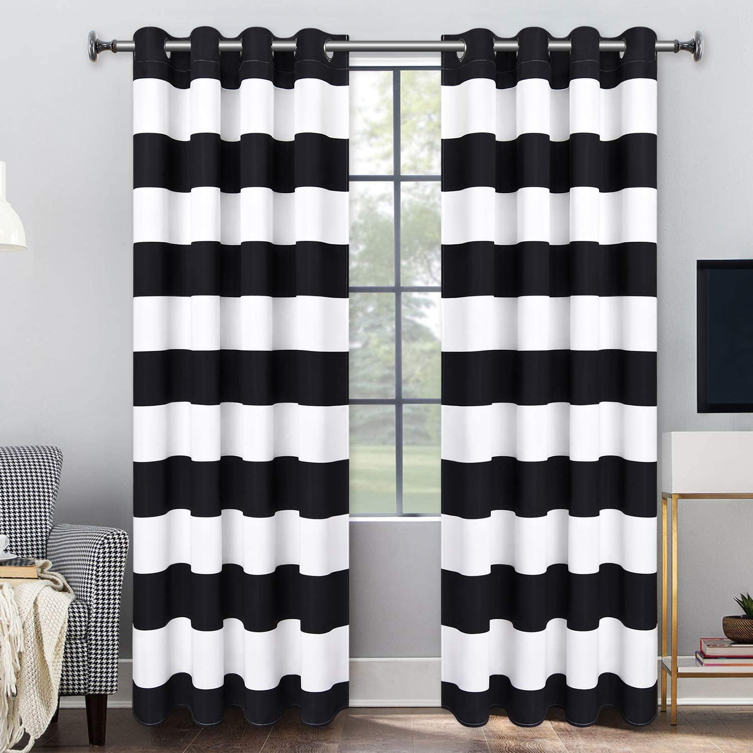 VERTKREA Stripe Window Curtain Striped Room Darkening Grommet Curtains 52 × 63 Inches Stripes Drapes for Bedroom Living Room, Black, Set of 2 Panels