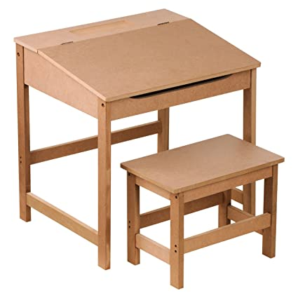 f345451a4c5 KIDS CHILDRENS WOODEN DESK AND CHAIR SCHOOL STUDY RETRO LIFTING TOP CHILD  SET IN Natural