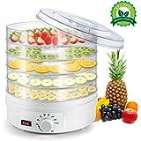 Deshidratador de Frutas Eléctrico Sunix, Termostato Ajustable para Encimera Portátil, Blanco, Libre de BPA, 5 bandejas…