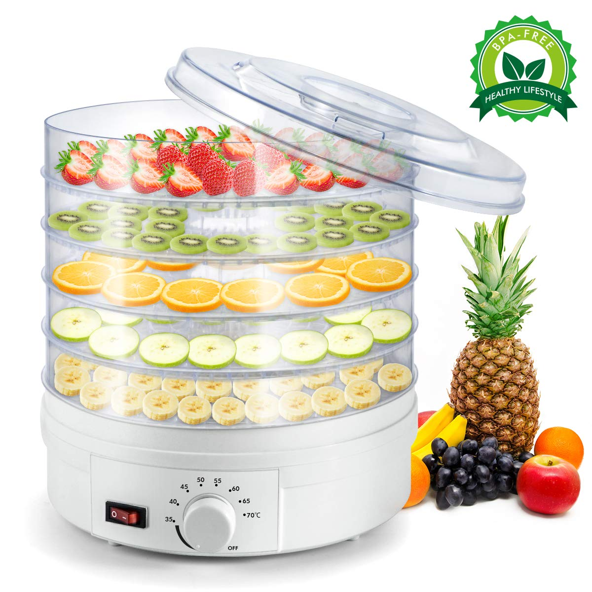 Sunix Electric Food Fruit Dehydrator, Portable Countertop Adjustable Thermostat, BPA-Free 5-Tray,for Jerky, Fruit, Vegetables & more, White by Sunix