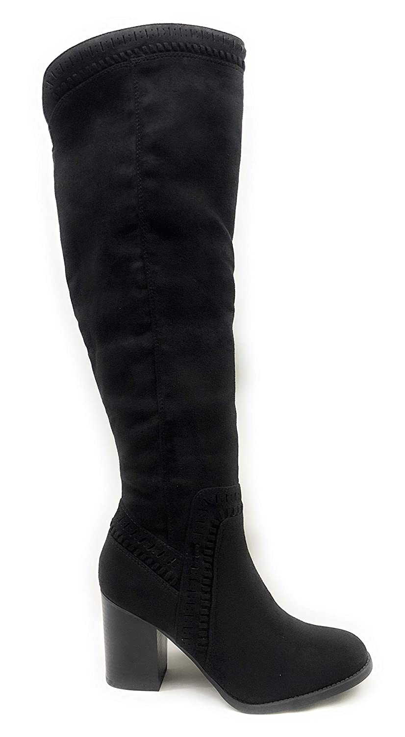 Black Imsu Soda Women's Faux Suede Back Tie Over The Knee Low Heel Dress Boot