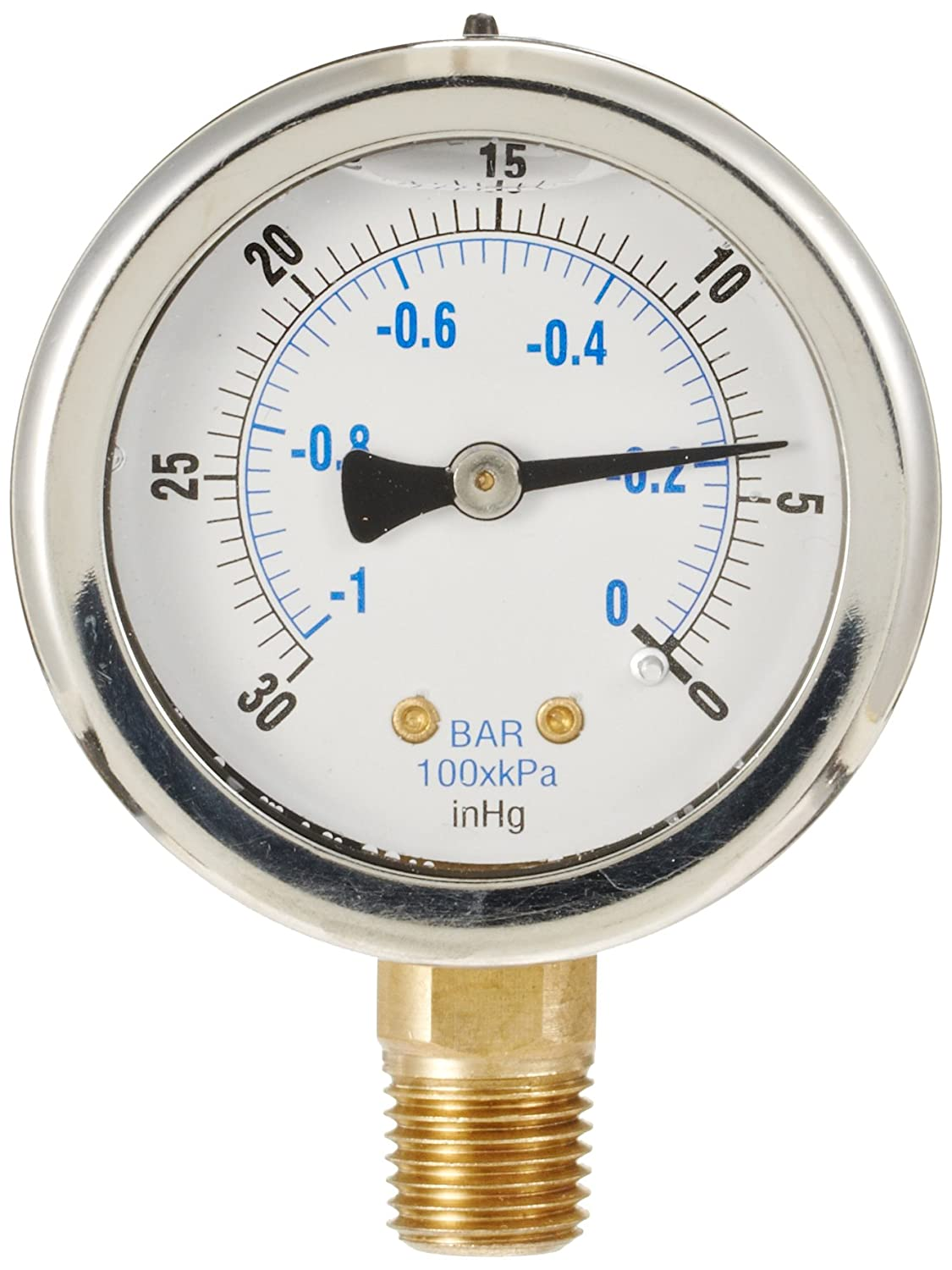 PIC Gauge 201L 204A 2 Dial 30 0 hg Vacuum psi Range 1 4 Male NPT Connection Size Bottom Mount Glycerine Filled Pressure Gauge with a Stainless Steel Case Brass Internals Stainless Steel Bezel and Polycarbonate Lens