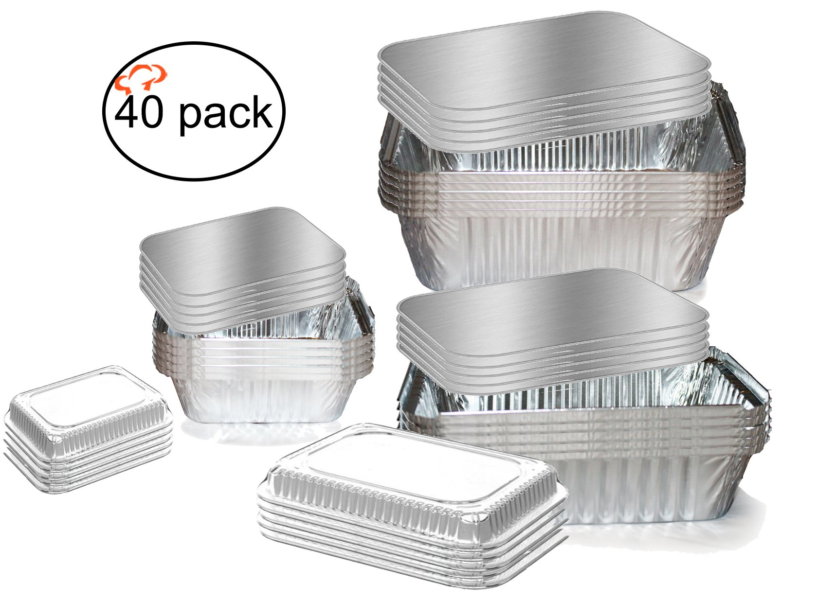 Tiger Chef Oblong Aluminum Tin Foil Pan Set Includes: 5 1lbs Pans With Clear Dome And Board Lids, 5 2.25 lbs. Pans With Clear Dome And Board Lids, 5 5lbs. Pans With Board Lids - 40 Pack