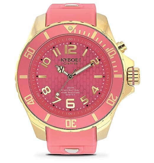 Kyboe. Oro Reloj analógico para mujer Quartz goma color rosa kg de 009 – 48