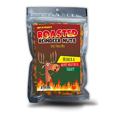 GearsOut Roasted Reindeer Nuts Spicy Trail Mix - Funny Holiday Reindeer Design - Edible Gifts for Men - Spicy Snack Mix, Made in The USA: Toys & Games