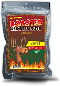 Gears Out Roasted Reindeer Nuts Spicy Trail Mix - Funny Holiday Reindeer Design - Edible Gifts for Men - Spicy Snack Mix, Made in The USA