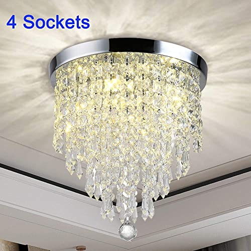 DLLT Modern Crystal Chandelier Fixture, 4-Lights Mini Chandelier Pendant Flush Mount Ceiling Lighting, H12.2 x W11.8 Crystal Lights Fixture for Bedroom, Hallway, Kitchen, Bathroom, Living Room