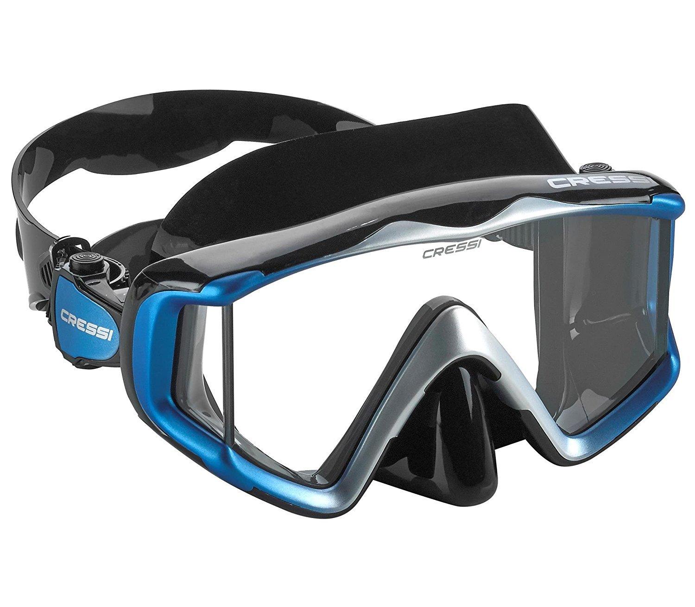 Cressi Liberty Triside SPE Diving Mask, Black/Black/Blue