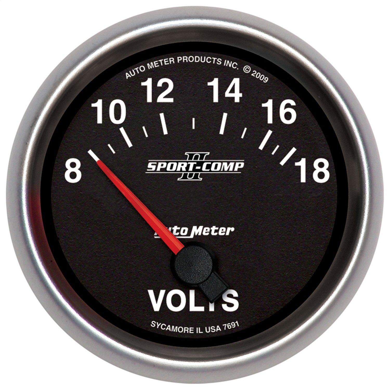 Auto Meter 7691 Sport-Comp II 2-5/8' 8-18V Short Sweep Electric Voltmeter