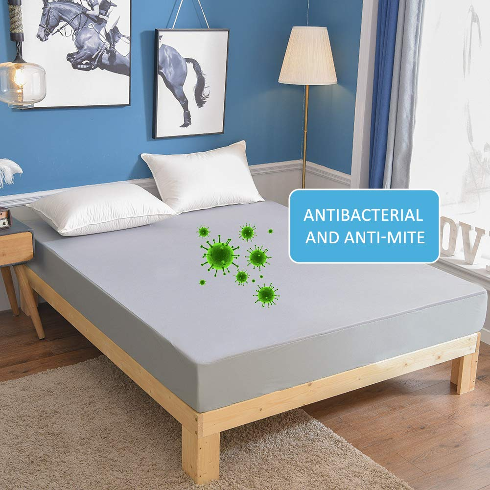 MH MYLUNE HOME Waterproof Mattress Protector Breathable Mattress Pad Cover Stretches up to 13inches Deep Pocket (Gray, Full)