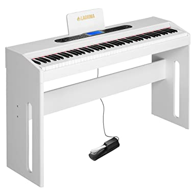 LAGRIMA White Digital Piano, 88 Keys Electric Piano Keyboard for Beginner/Adults W/Music Stand+Dust Cover+Power Adapter+1-Pedal Board+Instruction Book+Headphone Jack