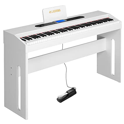 LAGRIMA White Digital Piano, 88 Keys Electric Piano Keyboard for Beginner/Adults W/