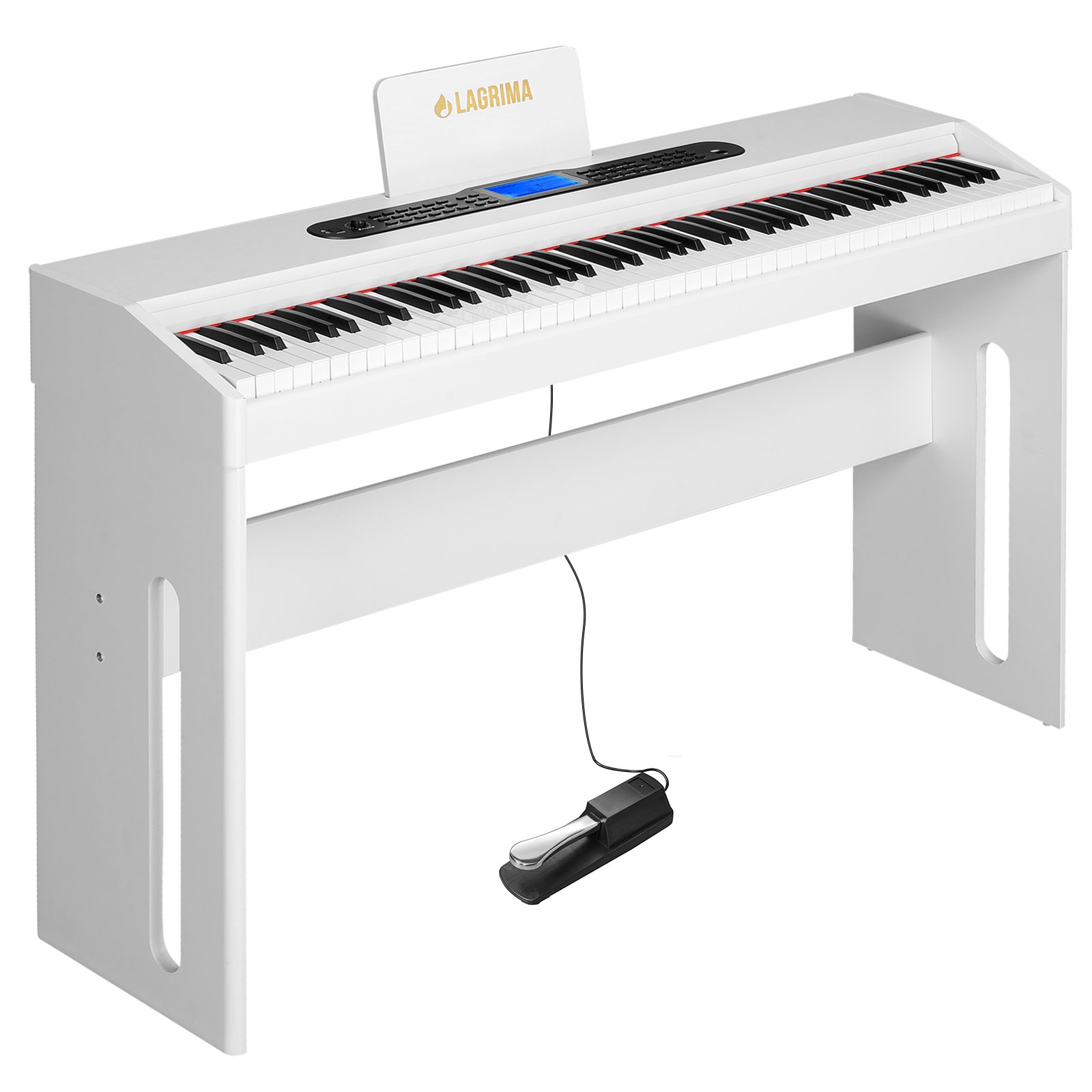 LAGRIMA White Digital Piano, 88 Keys Electric Piano Keyboard for Beginner/Adults W/Music Stand+Dust Cover+Power Adapter+1-Pedal Board+Instruction Book+Headphone Jack by LAGRIMA (Image #1)