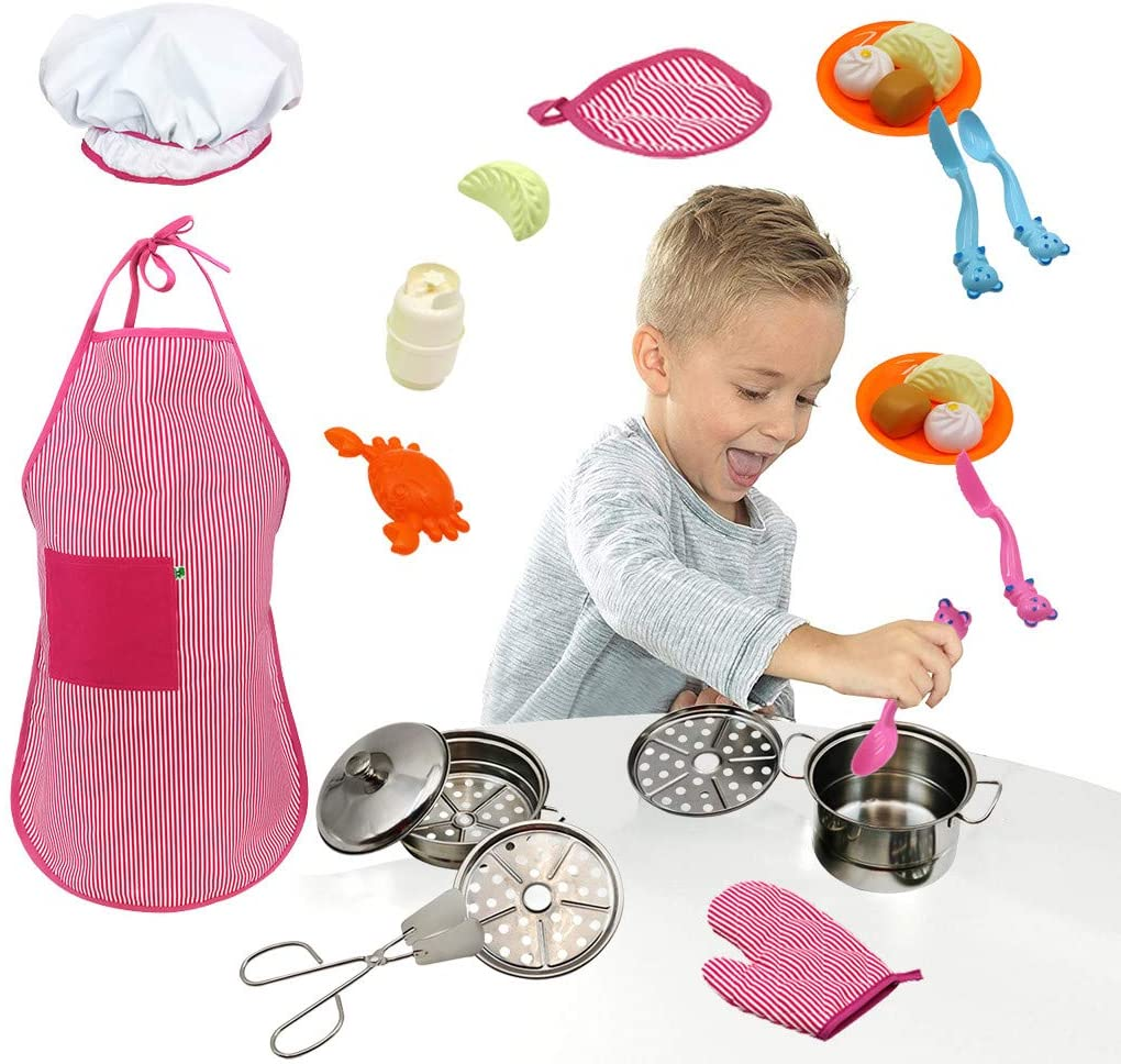 Lemoning Pretend Cooking Set Kitchen Pretend Playset with Stainless Steel Cookware Set and Apron & Chef Hat (Shpping About 3-5 Days)