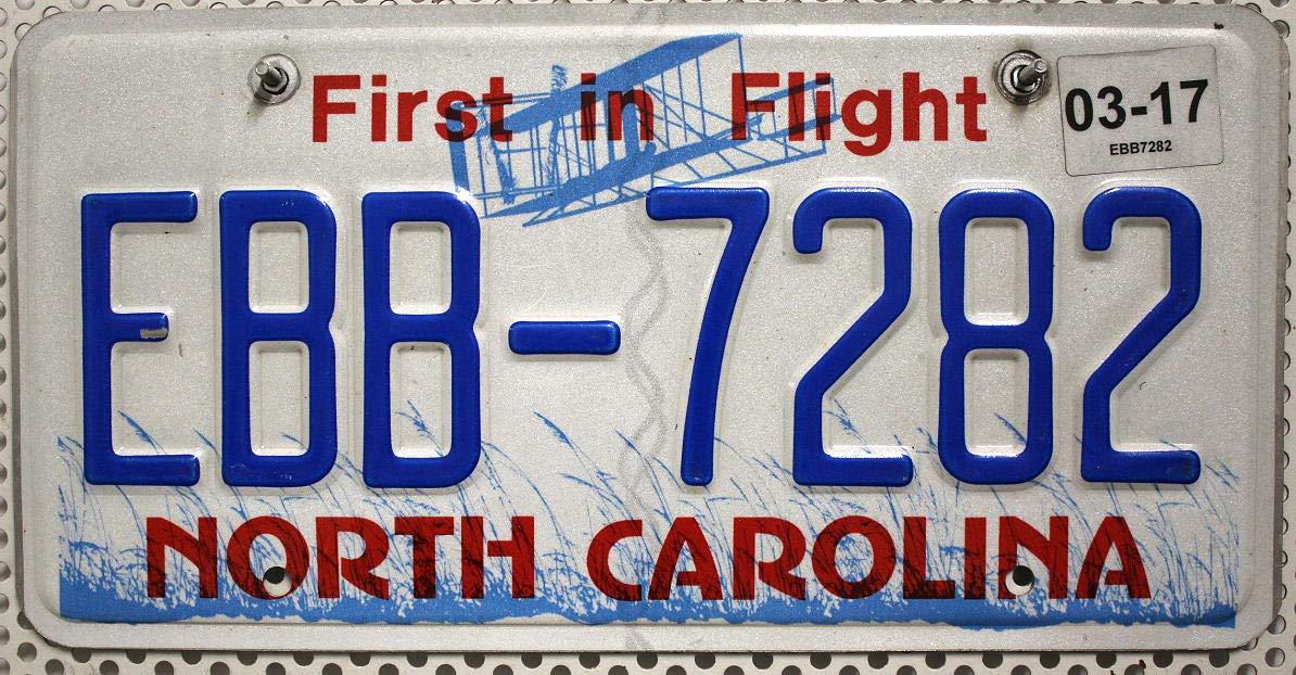 USA Nummernschild NORTH CAROLINA ~ US License Plate Autokennzeichen ~ KFZ Blechschild