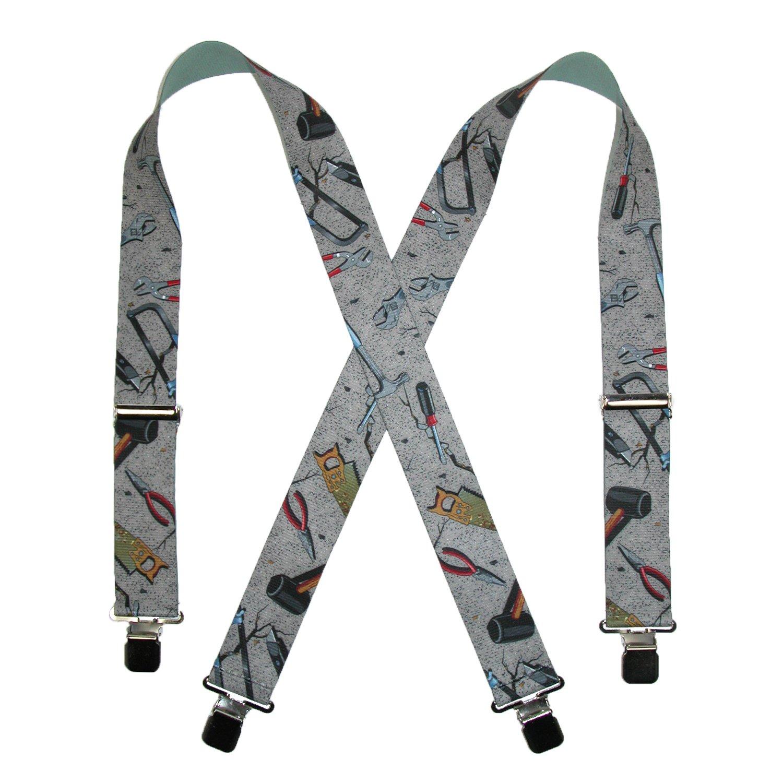 CTM Mens Big and Tall Elastic Hand Tools Clip End Work Suspenders