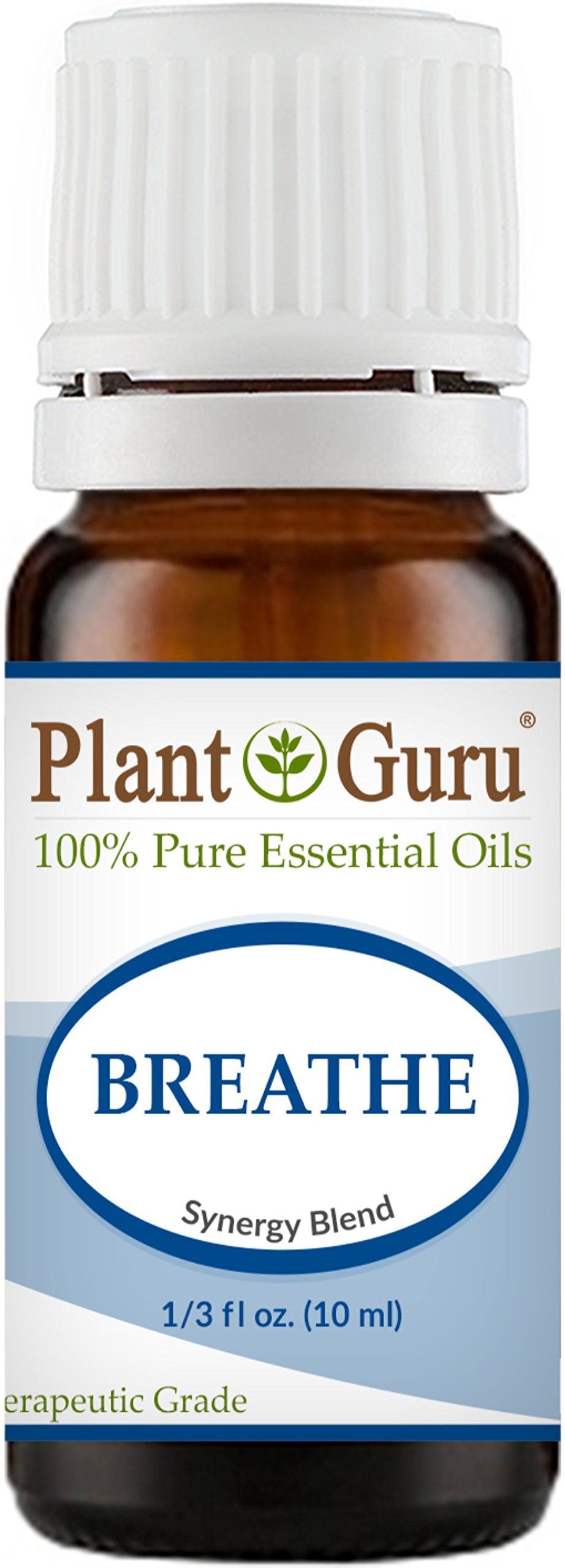 Breathe Respiratory Synergy Blend Essential Oil. 10 ml. 100% Pure Therapeutic Grade Sinus Relief Blend, Breathing Issues, Allergy Relief, Congestion Relief, Cough, Cold and Flu, Aromatherapy Diffuser.