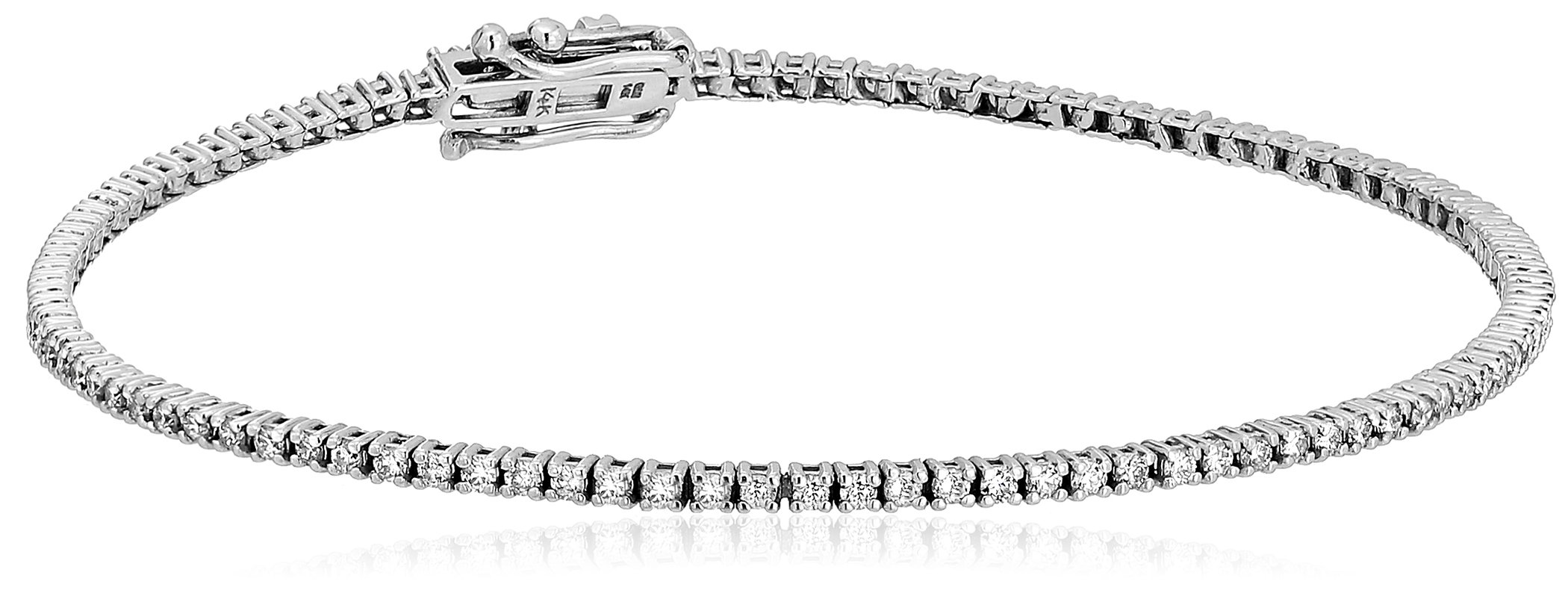 1 Carat Certified 14K White Gold Diamond Tennis Bracelet with Double Click Safety Clasp by Amazon Collection