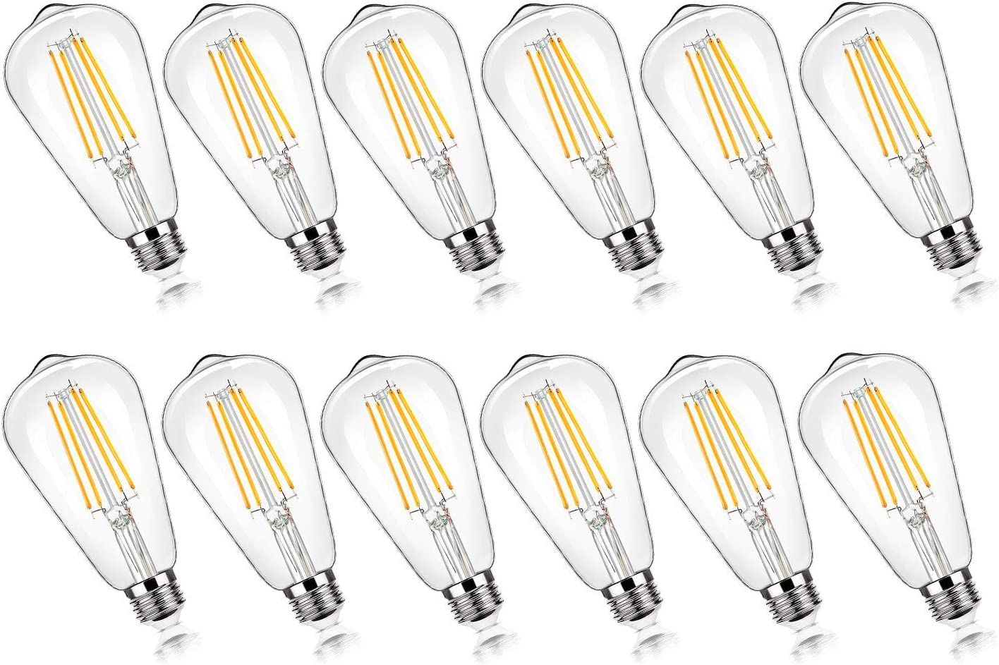 12-Pack Vintage 7W ST58 LED Edison Light Bulbs 60W Equivalent, 850Lumens, 3000K Soft Warm White, E26 Base LED Filament Bulbs, CRI90+, Antique Glass Style Great for Home, Bedroom, Office, Non-Dimmable