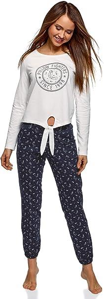 oodji Ultra Mujer Pijama de Algodón con Pantalones: Amazon.es: Ropa y accesorios