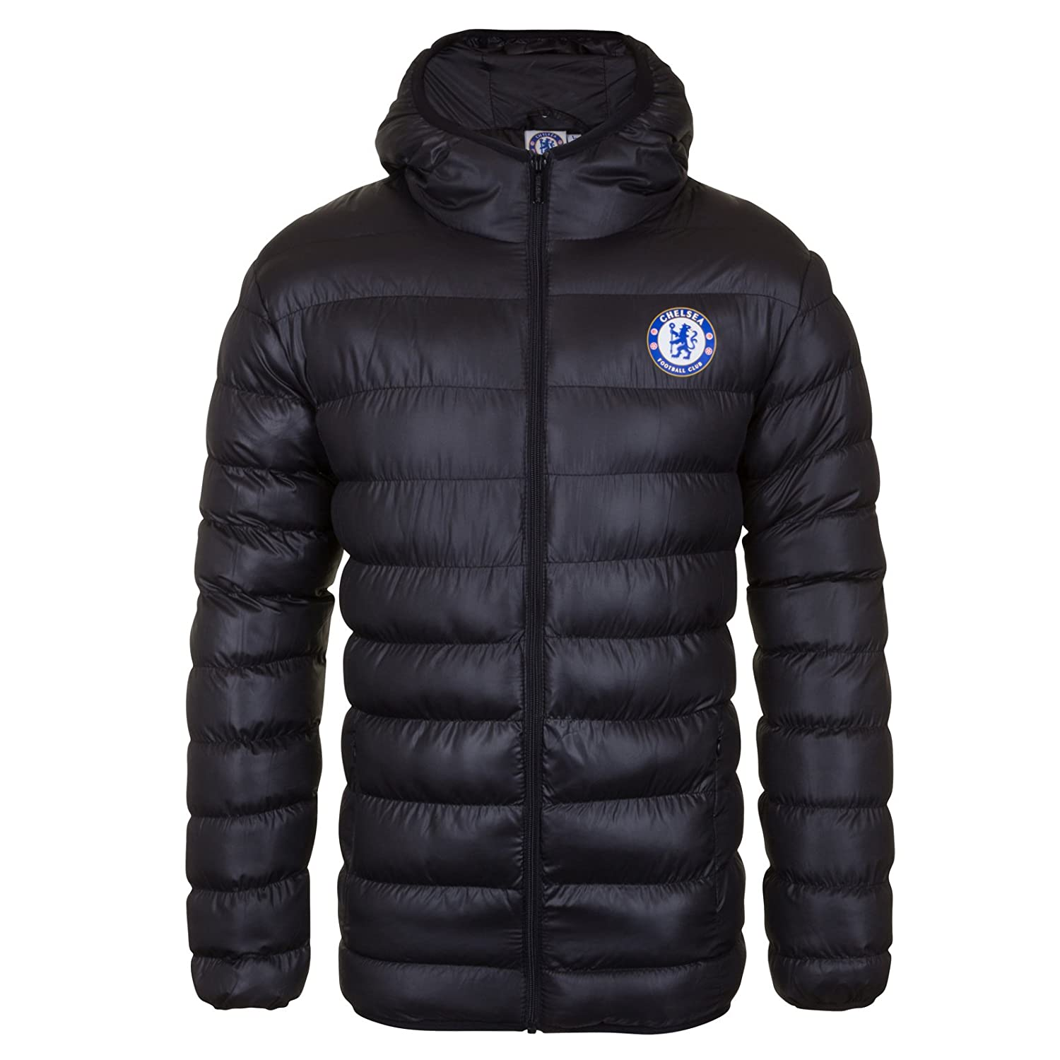 Chelsea FC Official Football Gift Mens Quilted Hooded Winter Jacket