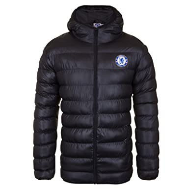 5ed09afa2fcd Amazon.com  Chelsea FC Official Soccer Gift Mens Quilted Hooded Winter  Jacket  Clothing
