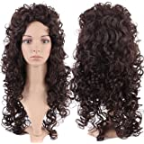 S-noilite® Fashion Lady Women Long Curly Wavy Full Head Wigs Cosplay Costume Party Daily Fancy Dress Dark Brown