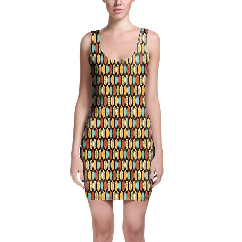 Surf Boards Retro Style Bodycon Dress XS-3XL Sleeveless Stretch Short Dress