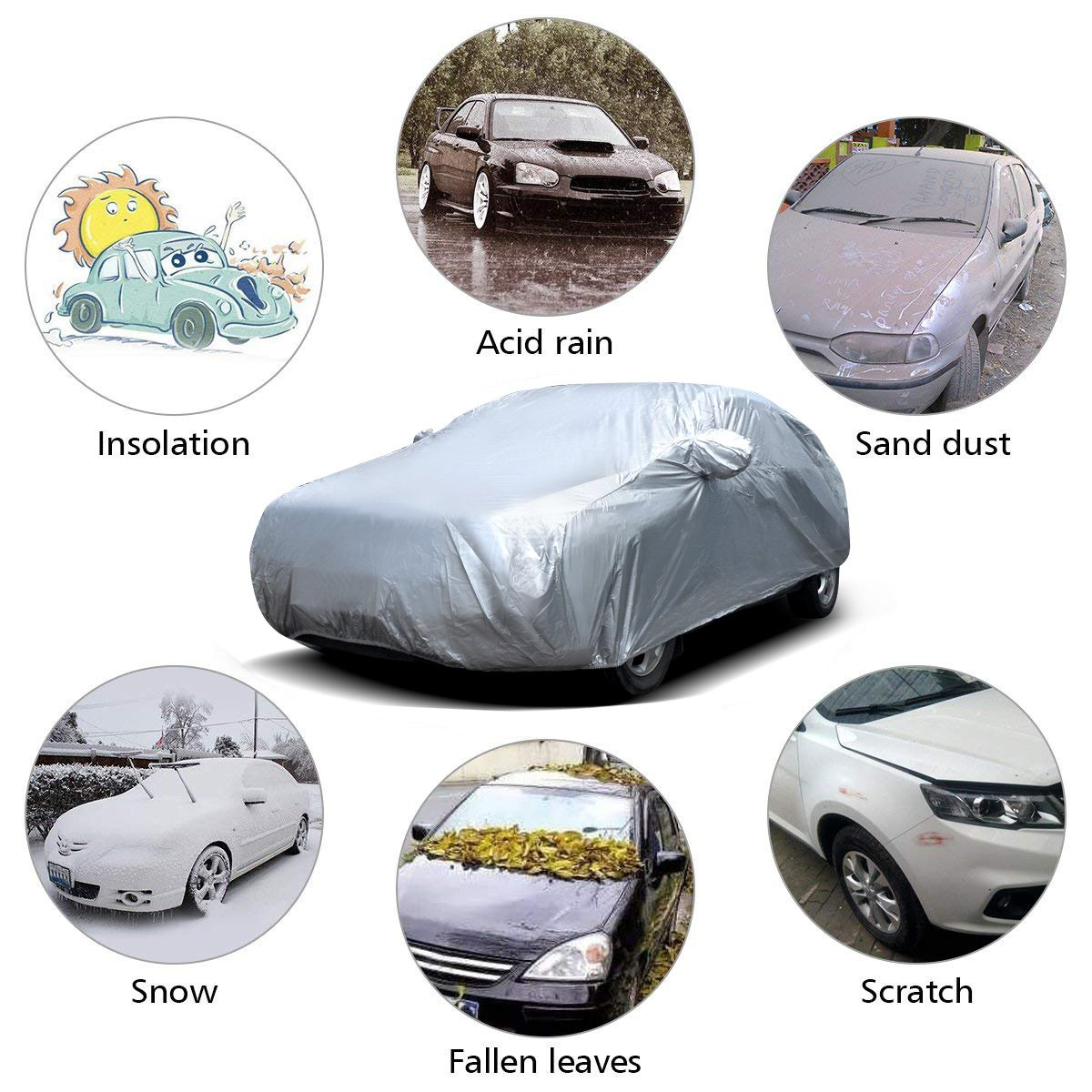 177-191 Audew Car Cover Sedan Cover UV Protection//Waterproof//Windproof//Dustproof//Scratch Resistant Outdoor Full Car Covers for Sedan L
