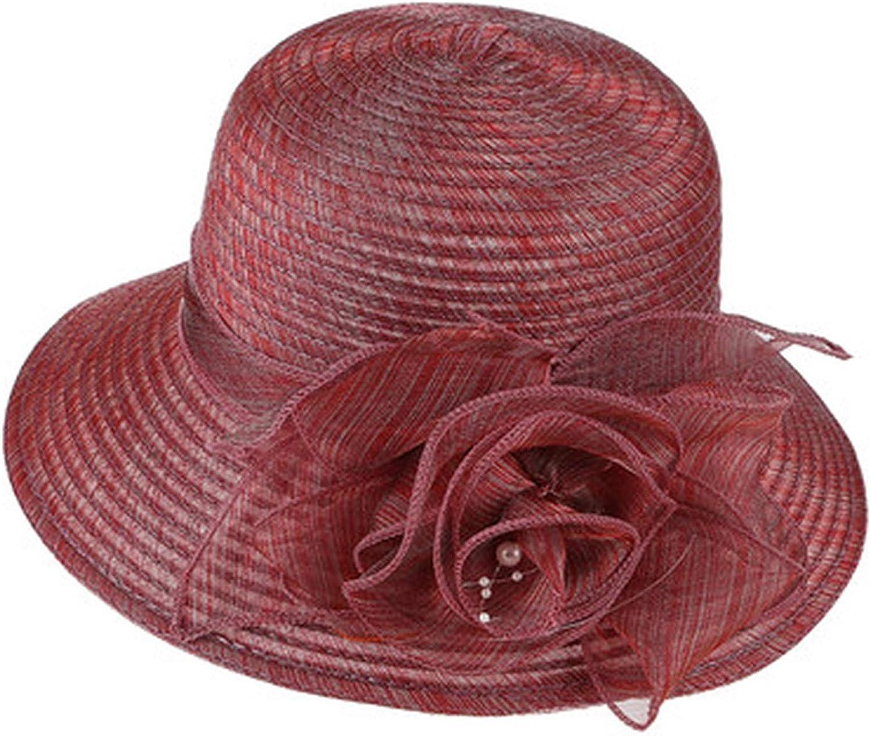 Summer Hats for Women Organza Floral Wedding Fedoras Derby Hats Wide Brim Sunhat Beach Church Hat