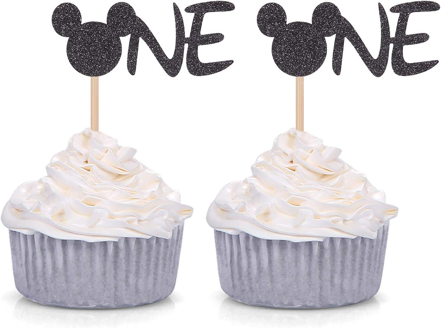 24 piezas de decoraci/ón para cupcakes con dise/ño de Mickey Mouse color negro