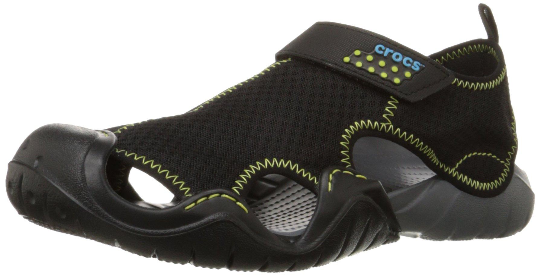 crocs Men's Swiftwater Sandal,Black/Charcoal,9 M US