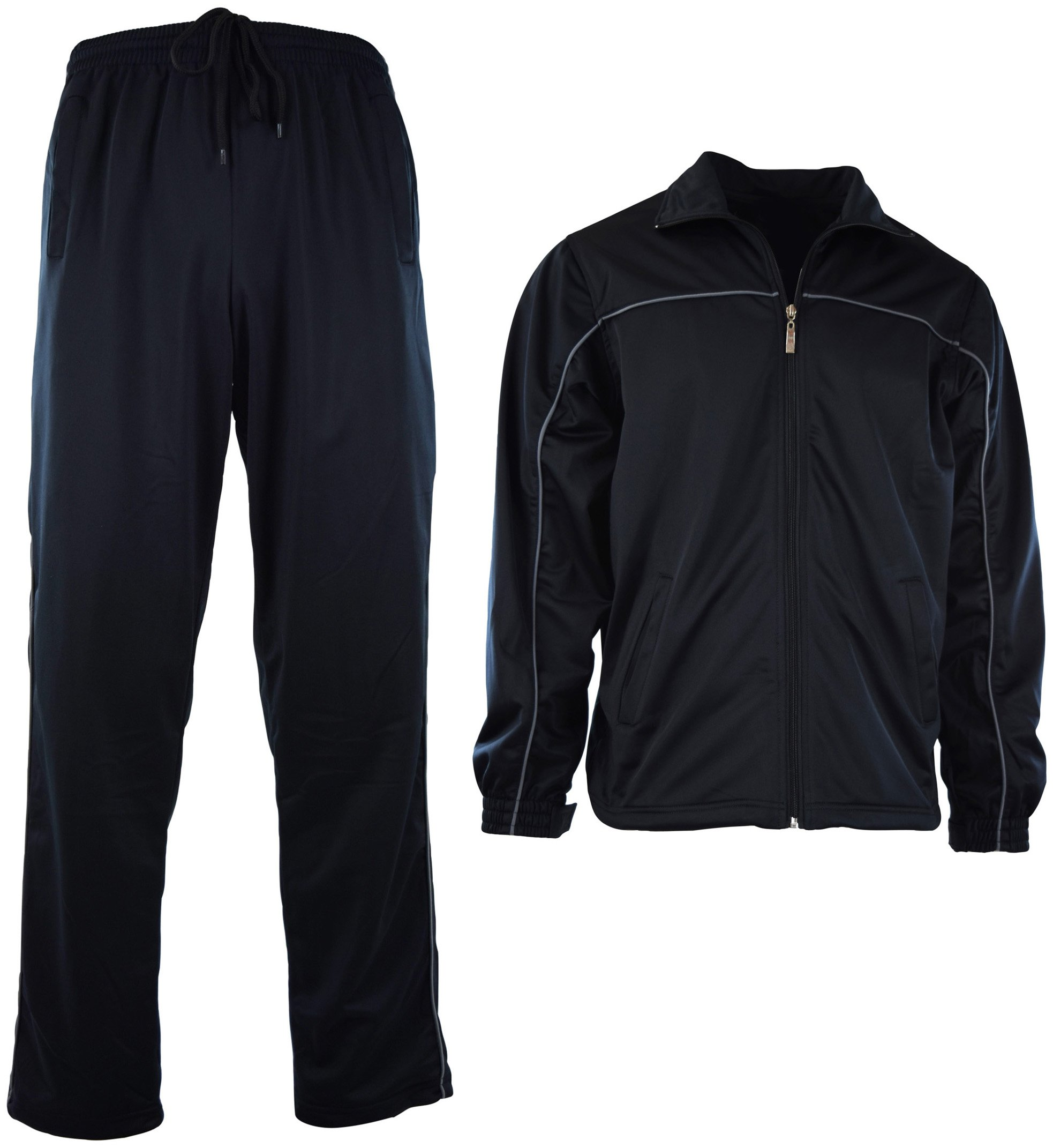 Mens Athletic 2 Piece Tracksuit Set (3XL, 212-BLACK) by ChoiceApparel