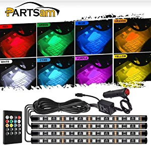 Partsam 48LED Under Dash Lighting Kit Car Floor Atmosphere Glow Neon Lights Multi RGB Color Garden Decorative LED Strip Lights Bar with Sound Function Wireless Remote Control for Motorcycle Car ATV