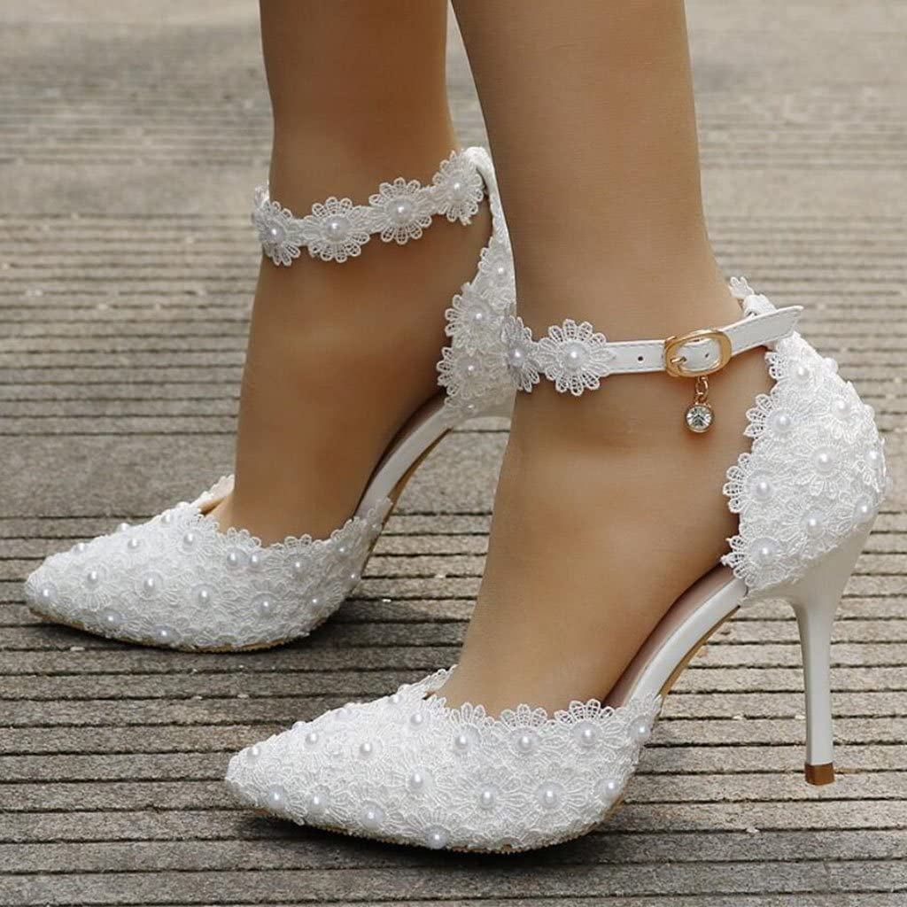 Color : White, Size : 40 FLYSXP White Lace Wedding Shoes Word Buckle Shoes Stiletto Pointed Wedding Dress Bride Shoes Womens Sandals Annual Meeting 9 cm Womens Shoes