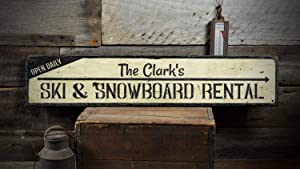 Ski & Snowboard Rental Wood Sign, Personalized Open Daily Family Last Name Arrow Home Decor - Rustic Hand Made Vintage Wooden Sign Home Decoration,Produced in The U.S.