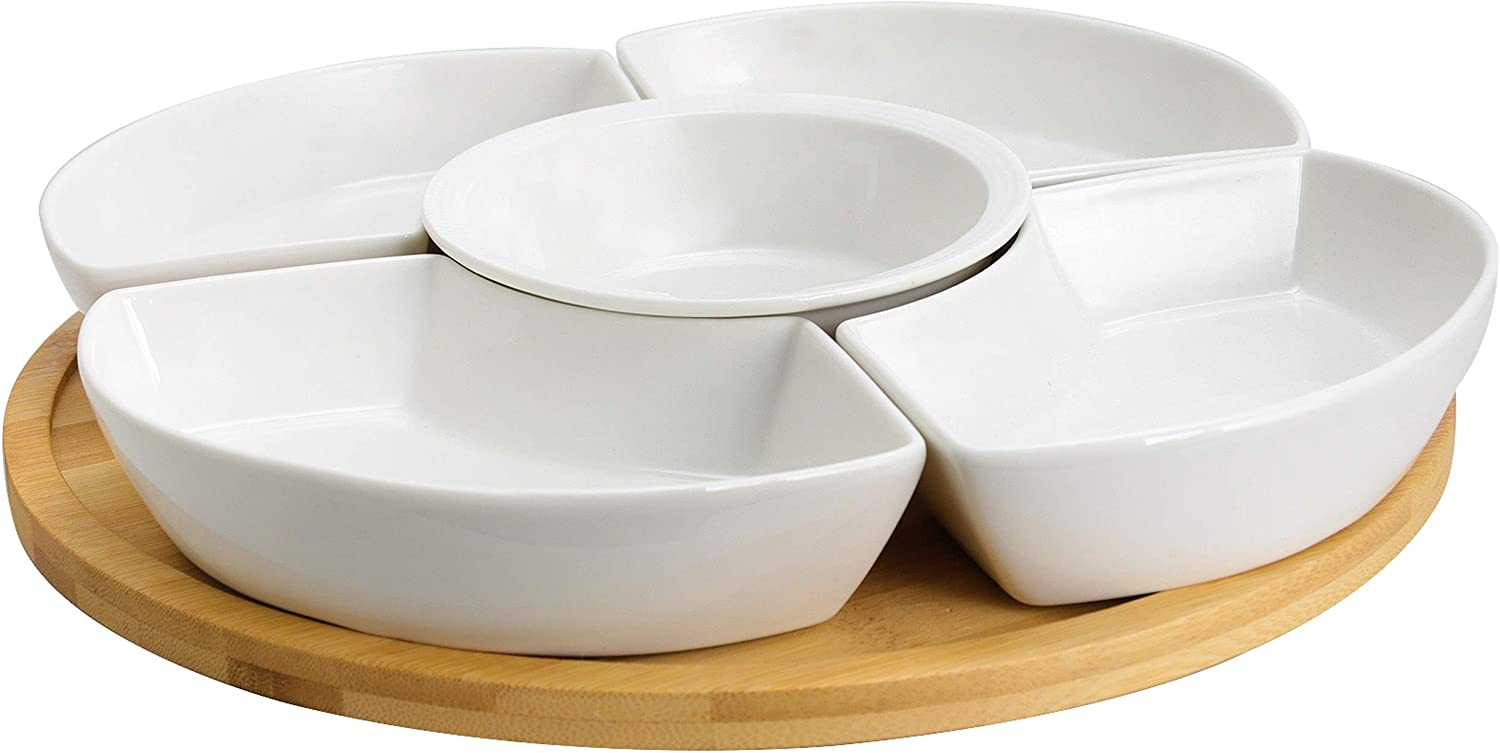 Elama Ceramic Stoneware Condiment Appetizer Set, 6 Piece, Compartment Round in White and Natural Bamboo