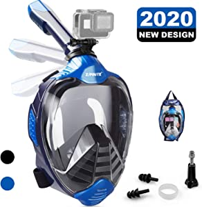 ZIPOUTE Snorkel Mask, Foldable Full Face Snorkel Mask with Detachable Camera Mount and Earplugs, 180 Panoramic View Anti-Fog Anti-Leak Snorkeling Mask Full Face for Adults