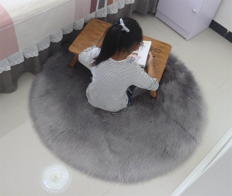Als Faux Bett-Vorleger oder Matte f/ür Stuhl Sofa 60cm Wohnzimmer Schlafzimmer Kinderzimmer Grau linyingdian Lammfell-Teppich Kunstfell Schaffell Imitat